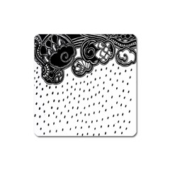 Batik Rain Black Flower Spot Square Magnet by Mariart