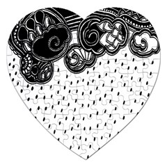 Batik Rain Black Flower Spot Jigsaw Puzzle (heart) by Mariart
