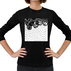 Batik Rain Black Flower Spot Women s Long Sleeve Dark T Shirts by Mariart