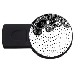 Batik Rain Black Flower Spot Usb Flash Drive Round (4 Gb) by Mariart