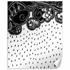Batik Rain Black Flower Spot Canvas 11  X 14   by Mariart