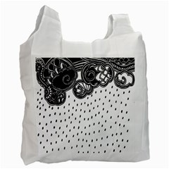 Batik Rain Black Flower Spot Recycle Bag (one Side) by Mariart
