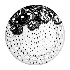 Batik Rain Black Flower Spot Round Filigree Ornament (two Sides) by Mariart