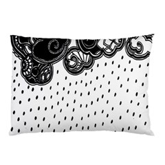 Batik Rain Black Flower Spot Pillow Case (two Sides) by Mariart