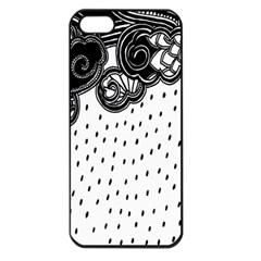 Batik Rain Black Flower Spot Apple Iphone 5 Seamless Case (black) by Mariart