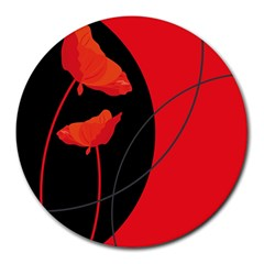 Flower Floral Red Black Sakura Line Round Mousepads by Mariart