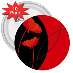 Flower Floral Red Black Sakura Line 3  Buttons (10 Pack)  by Mariart