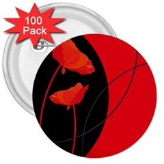 Flower Floral Red Black Sakura Line 3  Buttons (100 Pack)  by Mariart