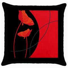 Flower Floral Red Black Sakura Line Throw Pillow Case (black) by Mariart