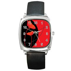 Flower Floral Red Black Sakura Line Square Metal Watch by Mariart