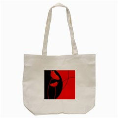 Flower Floral Red Black Sakura Line Tote Bag (cream) by Mariart