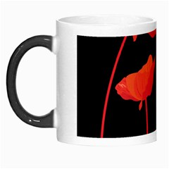 Flower Floral Red Black Sakura Line Morph Mugs by Mariart