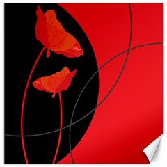 Flower Floral Red Black Sakura Line Canvas 16  X 16   by Mariart