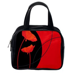 Flower Floral Red Black Sakura Line Classic Handbags (one Side) by Mariart