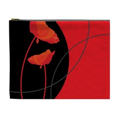 Flower Floral Red Black Sakura Line Cosmetic Bag (xl) by Mariart