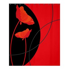 Flower Floral Red Black Sakura Line Shower Curtain 60  X 72  (medium)  by Mariart