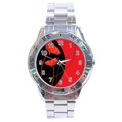 Flower Floral Red Black Sakura Line Stainless Steel Analogue Watch by Mariart