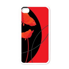 Flower Floral Red Black Sakura Line Apple Iphone 4 Case (white) by Mariart