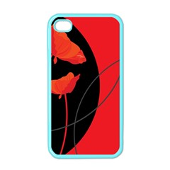 Flower Floral Red Black Sakura Line Apple Iphone 4 Case (color) by Mariart