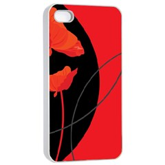Flower Floral Red Black Sakura Line Apple Iphone 4/4s Seamless Case (white) by Mariart