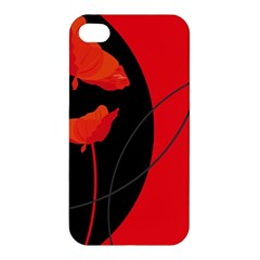 Flower Floral Red Black Sakura Line Apple Iphone 4/4s Hardshell Case by Mariart