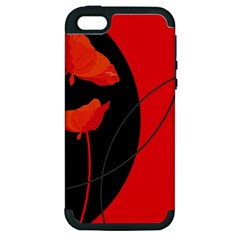 Flower Floral Red Black Sakura Line Apple Iphone 5 Hardshell Case (pc+silicone) by Mariart