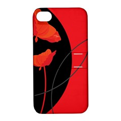 Flower Floral Red Black Sakura Line Apple Iphone 4/4s Hardshell Case With Stand by Mariart
