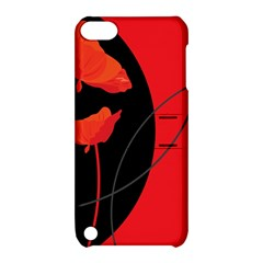 Flower Floral Red Black Sakura Line Apple Ipod Touch 5 Hardshell Case With Stand by Mariart
