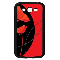 Flower Floral Red Black Sakura Line Samsung Galaxy Grand Duos I9082 Case (black) by Mariart