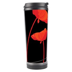 Flower Floral Red Black Sakura Line Travel Tumbler by Mariart