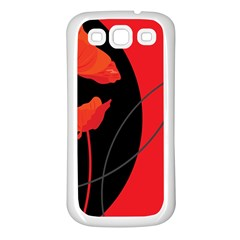 Flower Floral Red Black Sakura Line Samsung Galaxy S3 Back Case (white) by Mariart