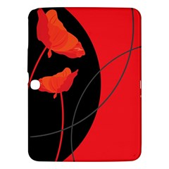 Flower Floral Red Black Sakura Line Samsung Galaxy Tab 3 (10 1 ) P5200 Hardshell Case  by Mariart