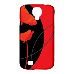 Flower Floral Red Black Sakura Line Samsung Galaxy S4 Classic Hardshell Case (pc+silicone) by Mariart