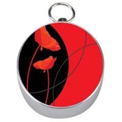 Flower Floral Red Black Sakura Line Silver Compasses by Mariart