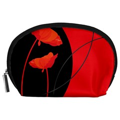 Flower Floral Red Black Sakura Line Accessory Pouches (large)  by Mariart