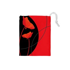 Flower Floral Red Black Sakura Line Drawstring Pouches (small)  by Mariart