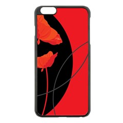 Flower Floral Red Black Sakura Line Apple Iphone 6 Plus/6s Plus Black Enamel Case by Mariart