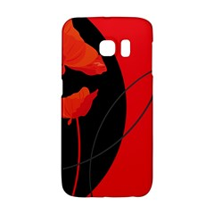 Flower Floral Red Black Sakura Line Galaxy S6 Edge by Mariart