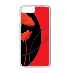Flower Floral Red Black Sakura Line Apple Iphone 7 Plus White Seamless Case by Mariart