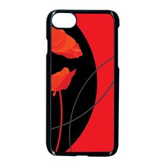 Flower Floral Red Black Sakura Line Apple Iphone 7 Seamless Case (black)