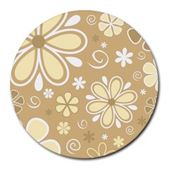 Flower Floral Star Sunflower Grey Round Mousepads by Mariart
