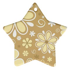 Flower Floral Star Sunflower Grey Ornament (star) by Mariart