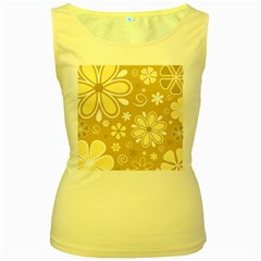 Flower Floral Star Sunflower Grey Women s Yellow Tank Top by Mariart