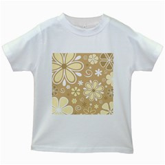 Flower Floral Star Sunflower Grey Kids White T Shirts by Mariart