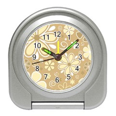 Flower Floral Star Sunflower Grey Travel Alarm Clocks by Mariart
