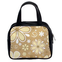 Flower Floral Star Sunflower Grey Classic Handbags (2 Sides) by Mariart