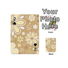 Flower Floral Star Sunflower Grey Playing Cards 54 (mini)  by Mariart