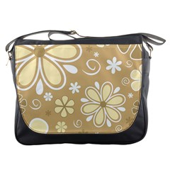 Flower Floral Star Sunflower Grey Messenger Bags by Mariart