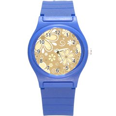 Flower Floral Star Sunflower Grey Round Plastic Sport Watch (s) by Mariart