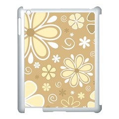 Flower Floral Star Sunflower Grey Apple Ipad 3/4 Case (white) by Mariart